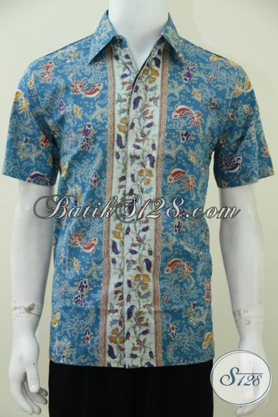 Baju Batik Lengan Pendek Warna Biru Dengan Desain Mewah Motif Bagus Untuk Pria Tampil Gagah, Hanya Rp 85.000,- Size M