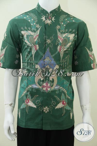 Distro Batik Koko Produk Solo Jawa Tengah, Hem Batik Tulis Krah Shanghai Warna Hijau Dengan Motif Keren Trend Moder Baju Cowok 2014, Size L