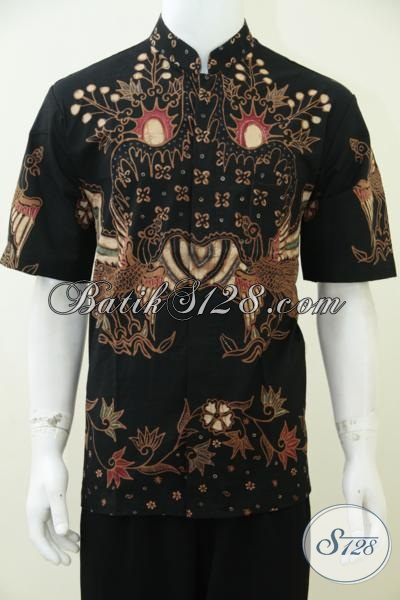 Baju Batik Muslim Lengan Pendek Warna Hitam Elegan Eksklusif, Koko Kerah Shanghai Batik Tulis [LD2392TSK-L]