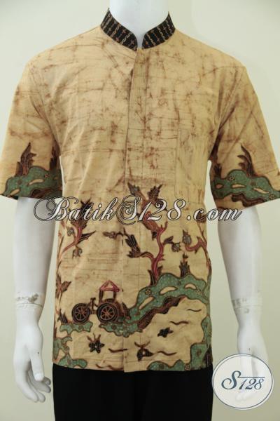 Trend Busana Batik Muslim 2014, Kemeja Batik Dengan Kerah Shanghai Warna Cerah Membuat Laki-Laki Tampil Lebih Trendy Dan Menarik, Size L