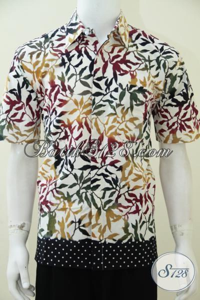 Baju Batik Pria Remaja Cowok, Laki-Laki Berjiwa Muda, Warna Cerah, Lengan Pendek, Bagus [LD2407C-M]