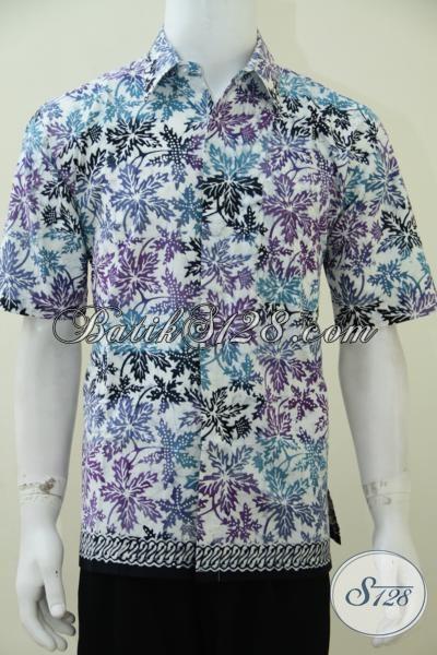 Baju Batik Modern Warna Putih Motif Daun Pepaya Ungu Biru