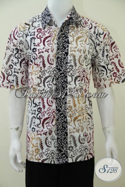 Batik Pria Modern Tampil Elegan Stylish Cerah Warna Dasar Putih [LD2416C-XL]