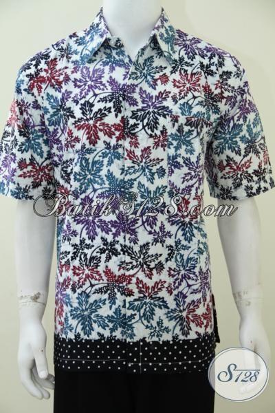 Busana Batik Motif Dedaunan Warna Keren Dan Trendy, Hem Batik Lengan Pendek Untuk Pesta Dan Acara Santai, Size XL