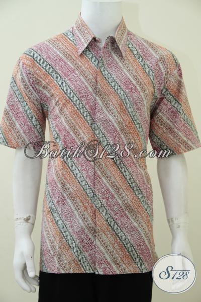 Pusat Online Kemeja Batik Pria  Paling Up To Date, Sedia Hem Batik Lengan Pendek Dengan Motif Trendy Warna Soft Cocok Untuk Kerja Dan Santai [LD2428CT-XL]