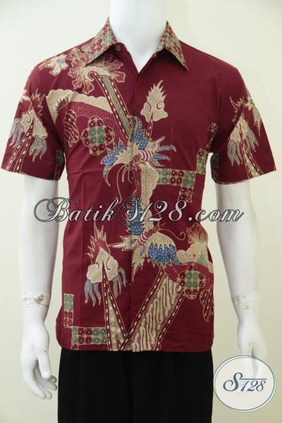Jual Hem Batik Online  Dengan Motif Trend Terkini, Baju Batik Lengan Pendek Warna Merah Keren Dan Anak Muda Banget, Size M