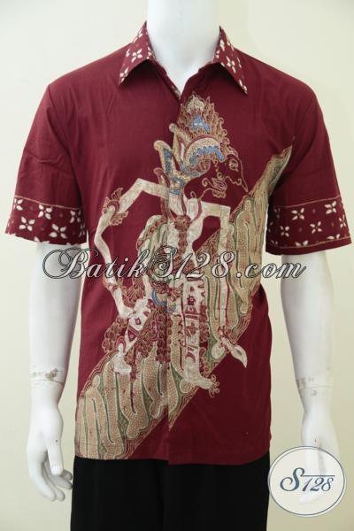 Kemeja Batik Tulis Warna Merah Motif Wayang Baladewa, Hem Batik Berkwalitas Dengan Harga Yang Terjangkau, Size L