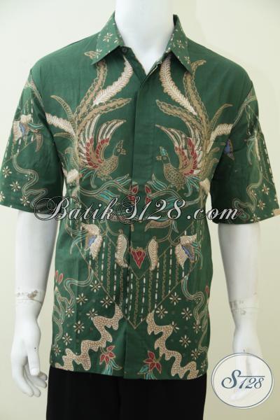 Kemeja Batik Tulis Hijau Motif Burung, Busana Batik Lengan Pendek Modis Trendy Untuk Kerja Dan Elegan Untuk Acara Resmi [LD2453T-XL]
