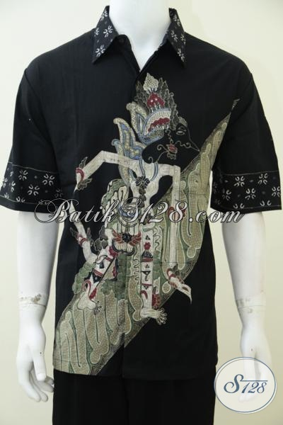 Hem Batik Wayang Trend Busana Pria Masa Kini, Busana Batik Hitam Lengan Pendek Motif Baladewa Simbol Gagah Dan Perkasa [LD2454T-XL]