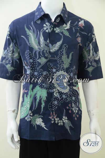 Hem Batik Solo Warna Biru Keren Mas Bro, Baju Batik Tulis Model Lengan Pendek Trendy Dan Modern [LD2459T-XL]
