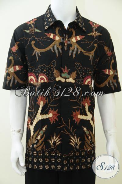 Baju Batik Klasik Modern Proses Tulis Dengan Pewarna Alami Soga, Hem Batik Bagus Dengan Ukuran Spesial Untuk Pria Gemuk [LD2480TS-XXL]