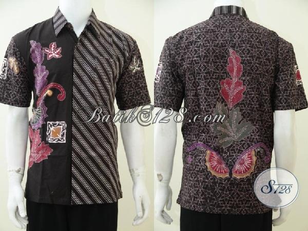 Baju Batik Modern Kombinasi Dua Motif Hem Batik Lengan
