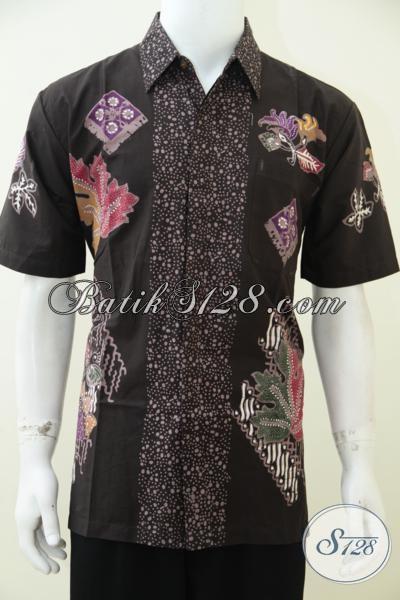 Baju Batik Lengan Pendek Warna Coklat Hem Batik Kerja
