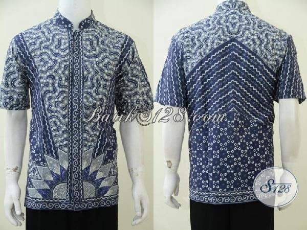 Koleksi Terbaru Toko Batik Solo Online, Hem Batik Tuli Koko Kerah Shanghai Modern Trendy Dan Gaul, Cocok Untuk Pria Muslim Menyambut Lebaran [LD2488TK-L]