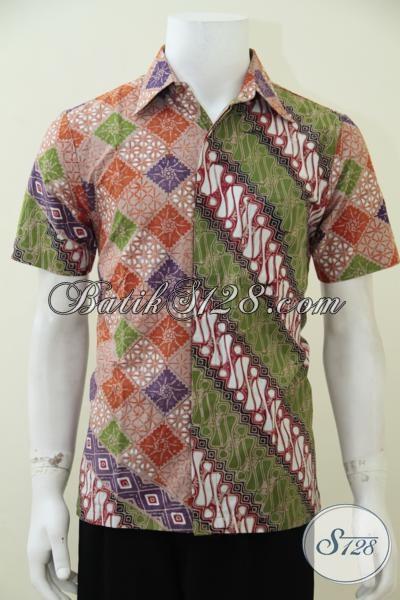 Kemeja Batik Modern Dengan Kombinasi Dua Motif Unik Trend Busana Pria Masa Kini, Baju Batik Solo Kwalitas Halus Adem Harga Terjangkau [LD2492CT-S]