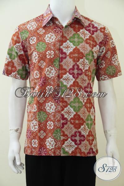 Jual Hem Batik Anak Muda Trend Masa Kini, Baju Batik Lengan Pendek Kombinasi Dua Motif Keren Cocok Untuk Kerja Dan Santai, Size M