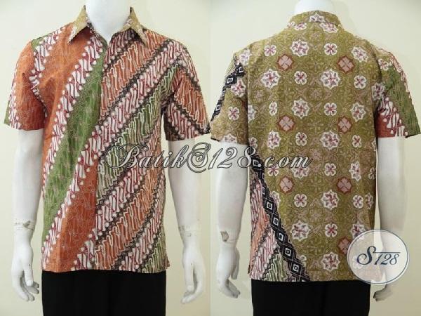 Busana Batik Pria Muda Masa Kini Warna Cerah Dengan Kombinasi 2 Motif Terlihat Lebih Unik Dan Keren, Baju Batik Gaul Dan Kerja Yang Fashionable, Size M
