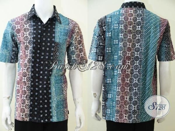 Jual Kemeja Batik Bagus Halus Modern, Busana Batik Gradasi Untuk Pria Model Lengan Pendek Kwalitas Mewah Harga Bawah [LD2509CTG-L]