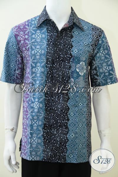 Jual Online Baju Batik Gradasi Kwalitas Bagus Dan Berkelas, Hem Batik Lengan Pendek Motif Trendy Untuk Kerja Dan Santai, Size L
