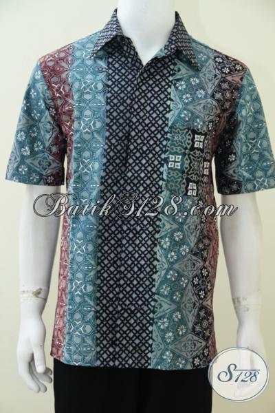 Jual Busana Batik Gradasi Online Harga Terjangkau, Kemeja Batik Lengan Pendek Motif Trend Terbaru Tahun Ini, Size L