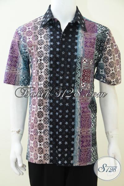 Hem Batik Lengan Pendek Trendy Untuk Anak Muda Dan Elegan Untuk Pria Dewasa, Baju Batik Gradasi Motif Bagus Harga Terjangkau, Size L