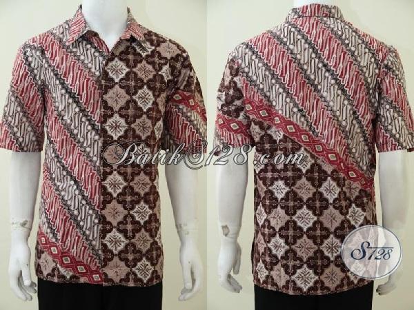 Jual Busana Batik Kombinasi 2 Motif Dan Warna Terbaru, Baju Batik Pria Muda Terbaru Yang Paling Banyak Dicari saat Ini, Size XL