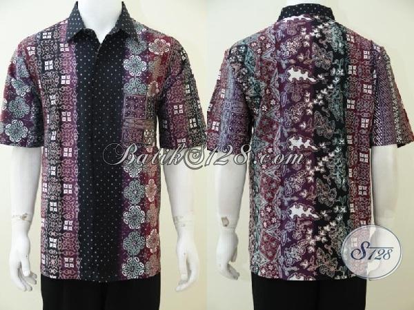 Hem Batik Gradasi Model Lengan Pendek Untuk Seragam kerja, Baju Batik Kwalitas Premium Mewah Berkelas, Size XL