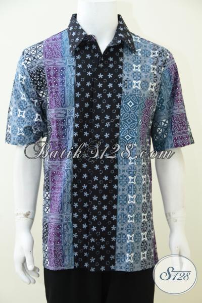 Jual Online Busana Batik Lengan Pendek Untuk Laki-Laki, Baju Batik Gradasi Warna Terbaru Berpadu Motif Modern Yang Semakin Fashionable, Size XL