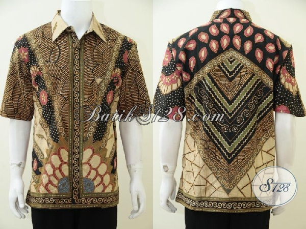 Kemeja Batik Tulis Soga Mewah Berkelas, Baju Batik Premium  Motif Klasik DFengan Daleman Furing Pria Tampil Gagah Dan Elegan, Size XL