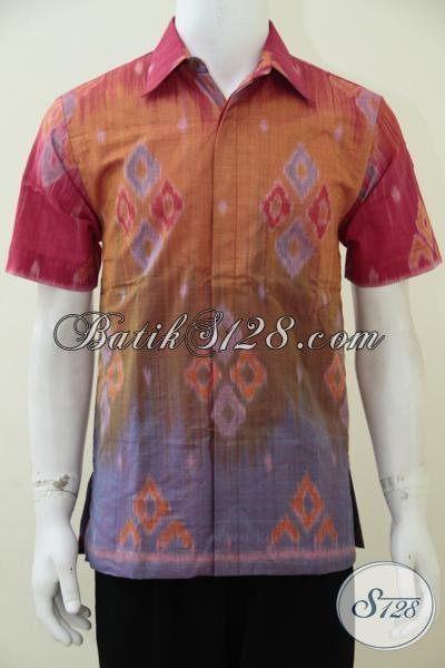 Hem Batik Tenun Asli Buatan Pengerajin, Busana Tenun Halus Dengan Warna Cerah Yang Keren Membuat Cowok Lebih Fresh Dan Trendy, Size M – L