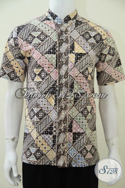 Jual Online Baju Batik Koko Muslim Motif Terkini, Busana Batik Lengan Pendek Cocok Untuk Menyambut Lebaran Dengan Penampilan Yang Keren, Size M