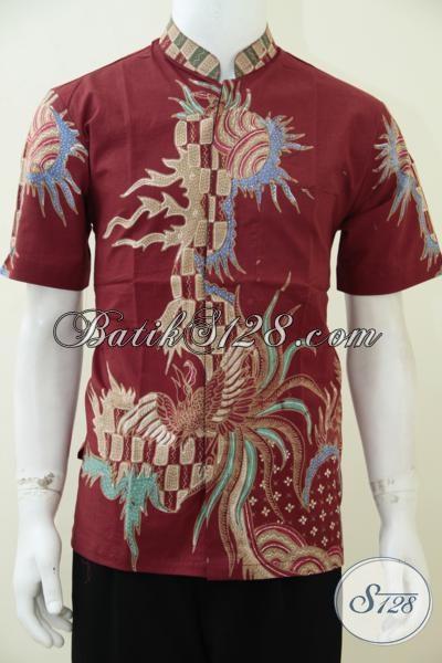 Hem Batik Koko Lengan Pendek Dasar Merah Motif Keren Banget Mas Bro, Baju Batik Gaul Pria Muda Masa Kini [LD2544TK-M]
