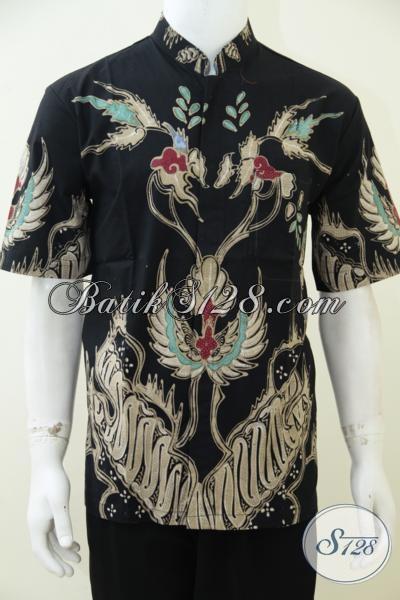 Toko Online Batik Sedia Baju Batik Motif Keren Dengan Dasar Hitam Untuk Tampil Elegan, Pakaian Batik Tulis Premium Harga Minimum, Size L