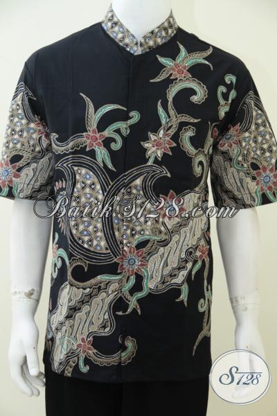 Hem Batik Koko Hitam Dengan Motif Unik Dan Simple, Baju Batik Tulis Lengan Pendek Untuk Lebaran Tahun Ini, Size XL