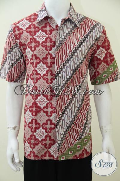 Hem Batik Lengan Pendek Dengan Kombinasi Dua Motif Unik Dan Warna Keren, Baju Batik Pria Muda Untuk Tampil Lebih Ceria [LD2572CT-L]