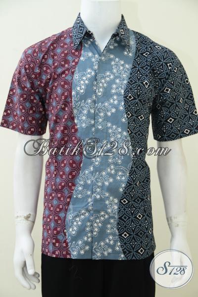 Baju Batik Solo Terbaru Dengan Kombinasi Motif Dan Warna Unik , Hem Batik Lengan Pendek Proses Cap Tulis Kwalitas Mewah Harga Bawah, Size M