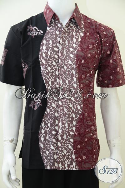 Koleksi Terbaru Toko Batik Online Terkini, Hem Batik Kombinasi Tiga Warna Dan Tiga Motif Terpisah Keren Dan Fashionable [LD2579CT-M]