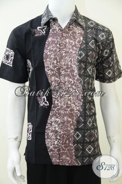 Jual Busana Batik Pria Masa Kini Dengan Kombinasi 3 Warna Dan 3 Motif, Hem Batik Lengan Pendek Modis Gaul Dan Fashionable Untuk Pria Muda [LD2581CT-M]