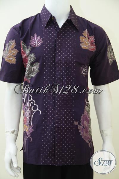 Kemeja Batik Ungu Motif Simple Dan Keren, Baju Batik Solo Untuk Pria Muda Kwalitas Premium Dengan Harga Minimum [ LD2584CT-L]
