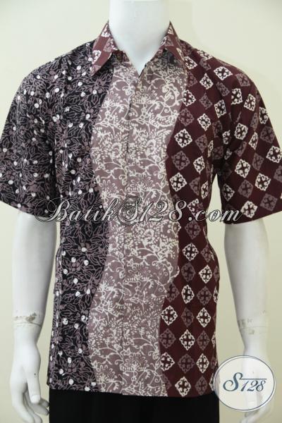 Pusat Kemeja Batik Solo Online Berkwalitas, Jual Hem Batik Trendy Pria Gabungan 3 Motif Dan 3 Warna Unik Cocok Untuk Baju Lebaran [LD2587CT-L]