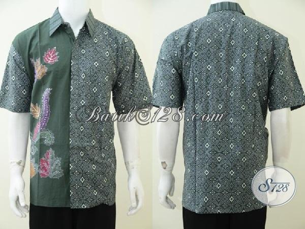 Pedagang Pakaian Batik Online Di Solo, Jual Kemeja Batik Lengan Pendek Hijau Motif Keren, Bisa Untuk Kerja Dan Kondangan [LD2594CT-XL]