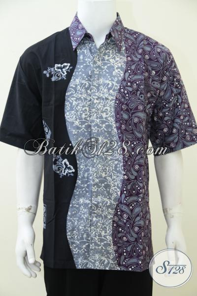 Batik Solo Sentuhan Modern Dengan Dual Motif Trend Saat Ini, Busana Batik Pria Model Lengan Pendek Modis Dan Fashionable [LD2595CT-XL]