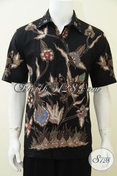 Pakaian Batik Tulis Hitam Model Formal, Baju Batik Motif Trendy Untuk Seragam Kerja Cowok Kantoran, Size L
