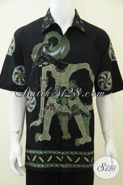Busana Batik Wayang Istimewa Untuk Pria Berbadan Gemuk Tampil Trendy Berkelas, Baju Batik Tulis Jombo Motif Bima Keren Berkelas [LD2646T-XXL]