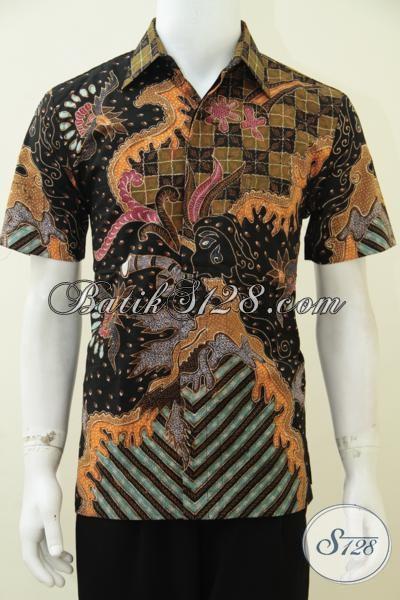 Jual Busana Batik Lengan Pendek Full Furing, Hem Batik Motif Modern Proses Tulis Cocok Untuk Kerja Dan Acara Resmi, Size M