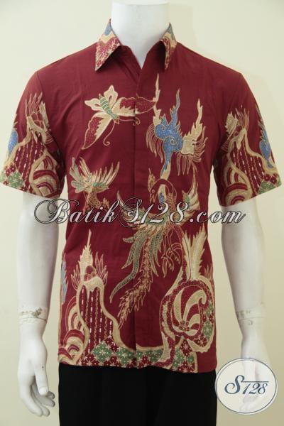 Distro Batik Online Solo Sedia Hem Batik Tulis Warna Merah Motif Kupu-Kupu Dan Burung, Baju Batik Lengan Pendek Anak Muda Banget Mas Bro, Size M