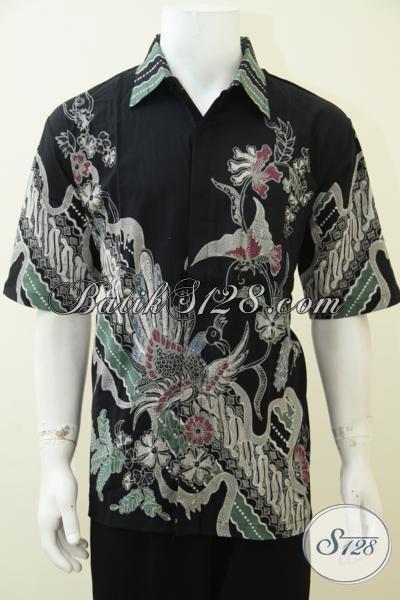 Online Shop Exclusive Batik Solo, Sedia Baju Batik Tulis Pria Trend Masa Kini, Busana Batik Lengan Pendek Dasar Hitam Membuat Lelaki Tampil Trendy Dan Gagah Berwibawa [LD2717T-XL]