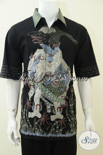 Busana Batik Jumbo Untuk Pria Berbadan Gemuk, Baju Batik Wayang Petruk Warna Hitam Elegan Dan Modern Untuk Yang Muda Dan Dewasa, Size XXL