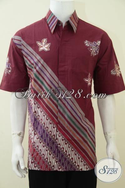 Hem Batik Lengan Pendek Warna Merah Marun, Baju Batik Motif Trend Terbaru Lebih Simple Dan Trendy, Cocok Untuk Di Pakai Kerja Maupun Santai, XL