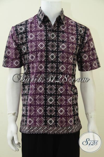 Busana Batik Solo Modern Motif Unik Keren Dan Menarik, Baju Batik Cap Tulis Model Lengan Pendek Sempurnakan Penampilan Cowok Macho [LD2740CT-M]